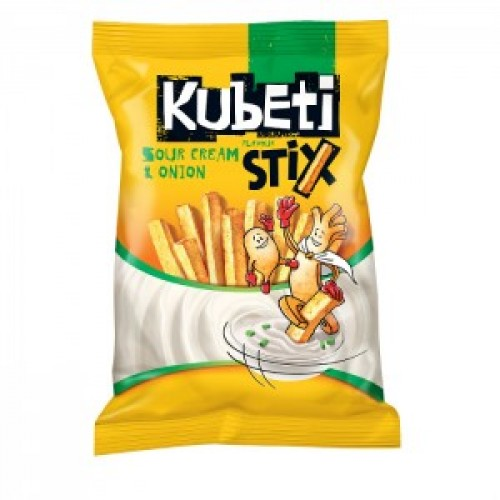 20 gr. Kubeti Stix - Crispi roated potato sticks- different tastes - with sour cream and onion, with BBQ ,with ketchup.