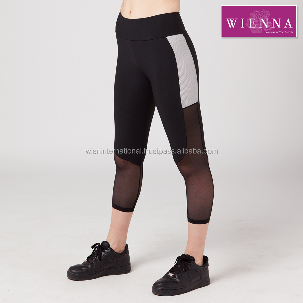High waist workout pants with power net at side.