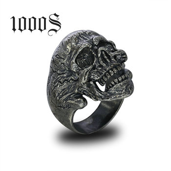 Dropshipping Silver Ring Wholesale Jewelry Steel Men Ring Antique Black Color S925 Silver Sterling Silver Men Skull Head Ring