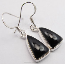 Engagement Female Jewelry Wholesale 925 Sterling Silver Wonderful CABOCHON BLACK ONYX Triangle HOOK Hanging Earrings 3 CM
