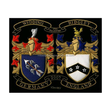 FAMILY CRESTS COAT OF ARMS HAND EMBROIDERY CUSTOMIZED HERALDRY GOLD BULLION WIRE FAMILY CREST.