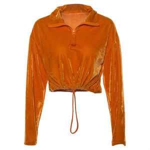 Women Girls Velvet Hoodie Sweatshirt Orange Color Long Sleeve Cropped Hoodies