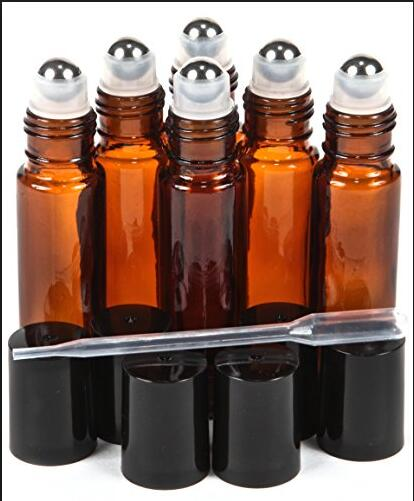 5ml 10ml Amber Roll on Glass Bottles Stainless Steel Roller Ball For Essential Oil and perfume