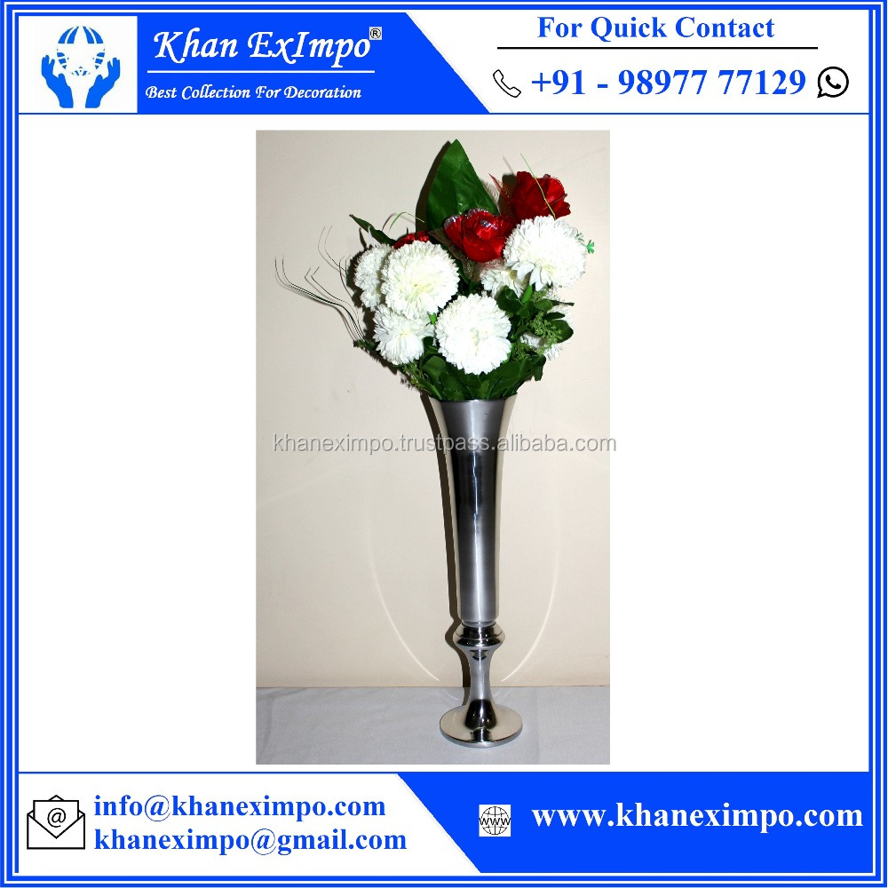 KEI-1172, Trumpet Shape , Indoor/Outdoor, Aluminium Metal, Small Garden Flower Vase Set, Wedding Centerpiece Decoration