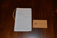 5 x 7 Single Drawstring Bleach Muslin Bag with Yellow Draw Cord.