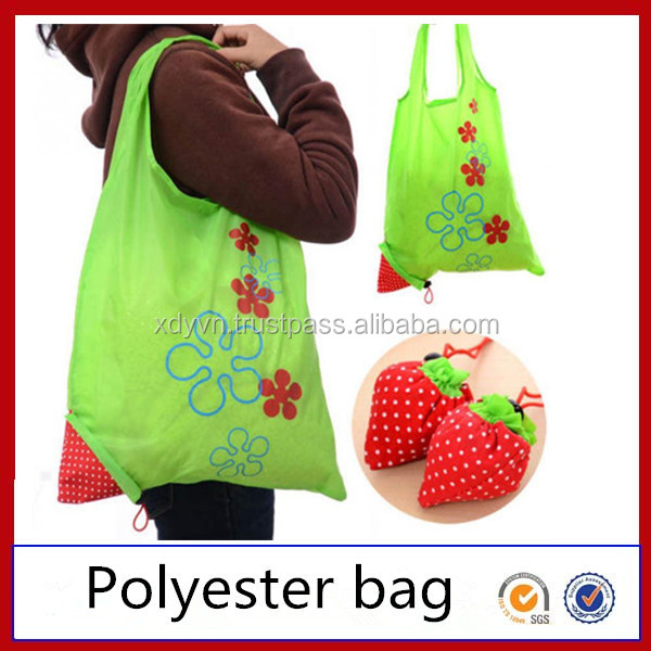 Factory custom tote bag 190T 210D polyester foldable shopping bag promotional foldable tote bag