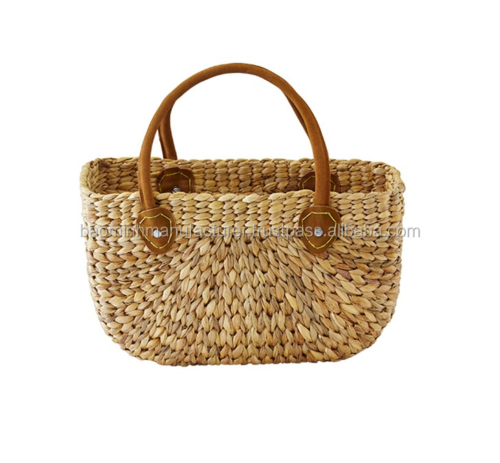 Hand weaving water hyacinth fashion bag with leather handle