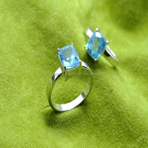 Superb Natural London Blue Topaz Engagement Ring 925 Sterling Silver for Women