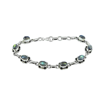 Shining blue fire gemstone handmade bracelet wholesale silver jewelry 925 sterling silver bracelets manufacturer