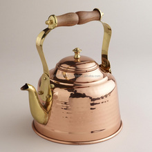 100% Copper tea kettle with wood & brass handle