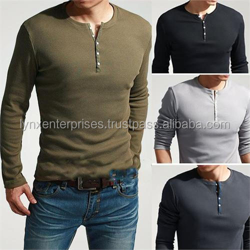 Men's Cool Long Sleeve Henley Slim Fit T-Shirt/100 % Cotton