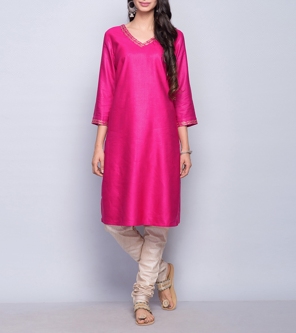 Magenta Tussar Cotton Zari Embroidery Detail Mini Kurta For Girls