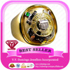 18Karat Gold with Electroplated in Silver Signet Type Military Ring
