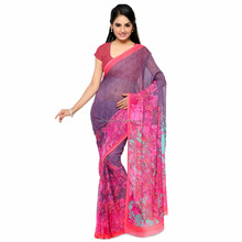 2017 New Design Pink And Purple Floral Print Georgette Women Saree
