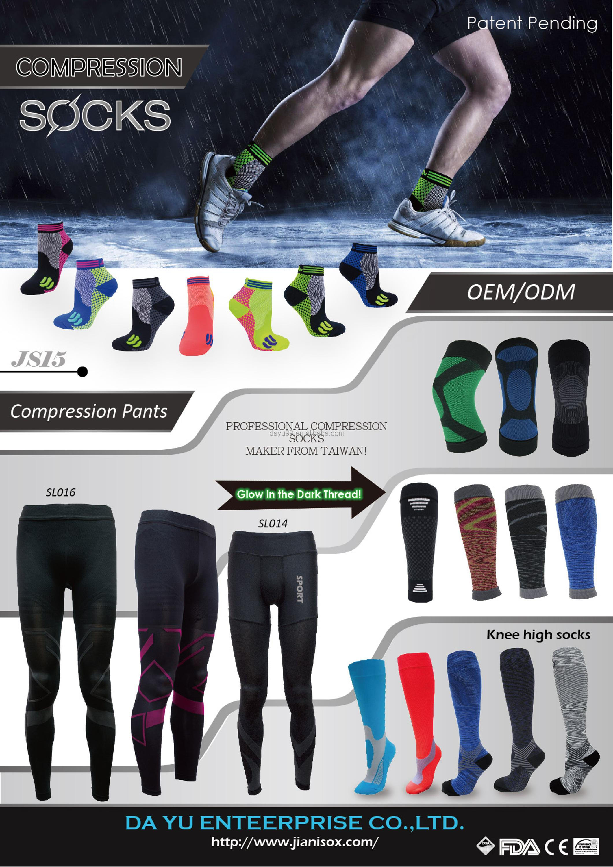 Sporting compression crew socks walking Made in Taiwan