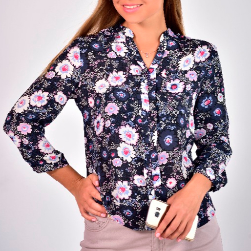 Women Chiifon Joint Placket Tops and Blouses