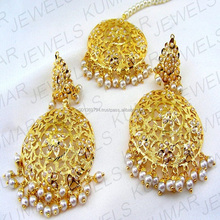 22kt Traditional Gold Plated Silver Alloy Based Hanging Pearl Beaded Jadau Dangling Earrings Tikka Set