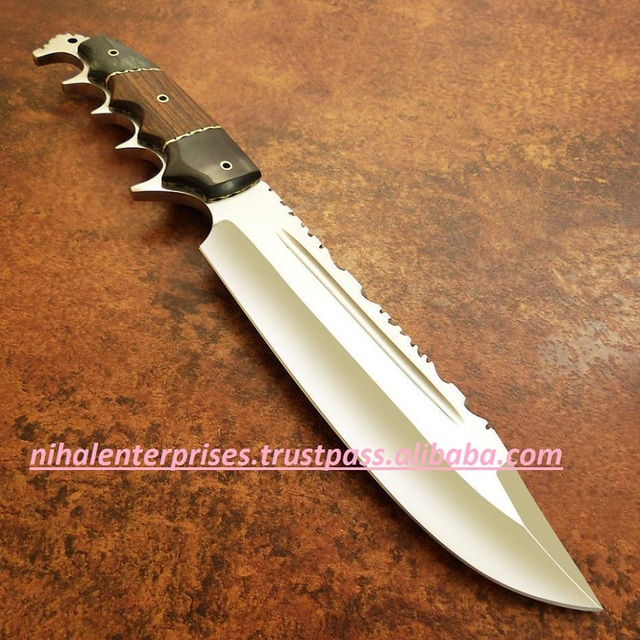CUSTOM HANDMADE D-2 STEEL ROSE WOOD & MICARTA HUNTING BOWIE KNIFE
