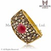 Women Vintage Victorian Jewelry Ruby Gemstone 14k Yellow Gold Rose Cut Diamond Bangle