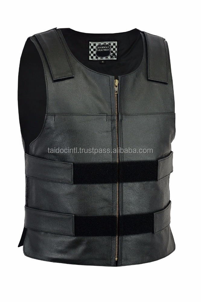Bullet Proof style Leather Motorcycle Vest / Bet quality by taidoc intl