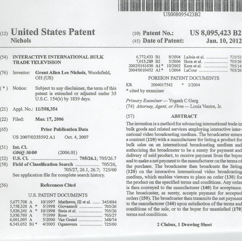 patent 4 sale bulk trade television station ecommerce database