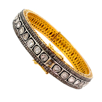Rose Cut Diamond Jewelry 14k Yellow Gold Indian Wedding Bangle