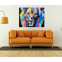 Latest Decorative Modern Abstract Lion Pop Art Oil Dot Painting On Canvas - Dewa Export Product