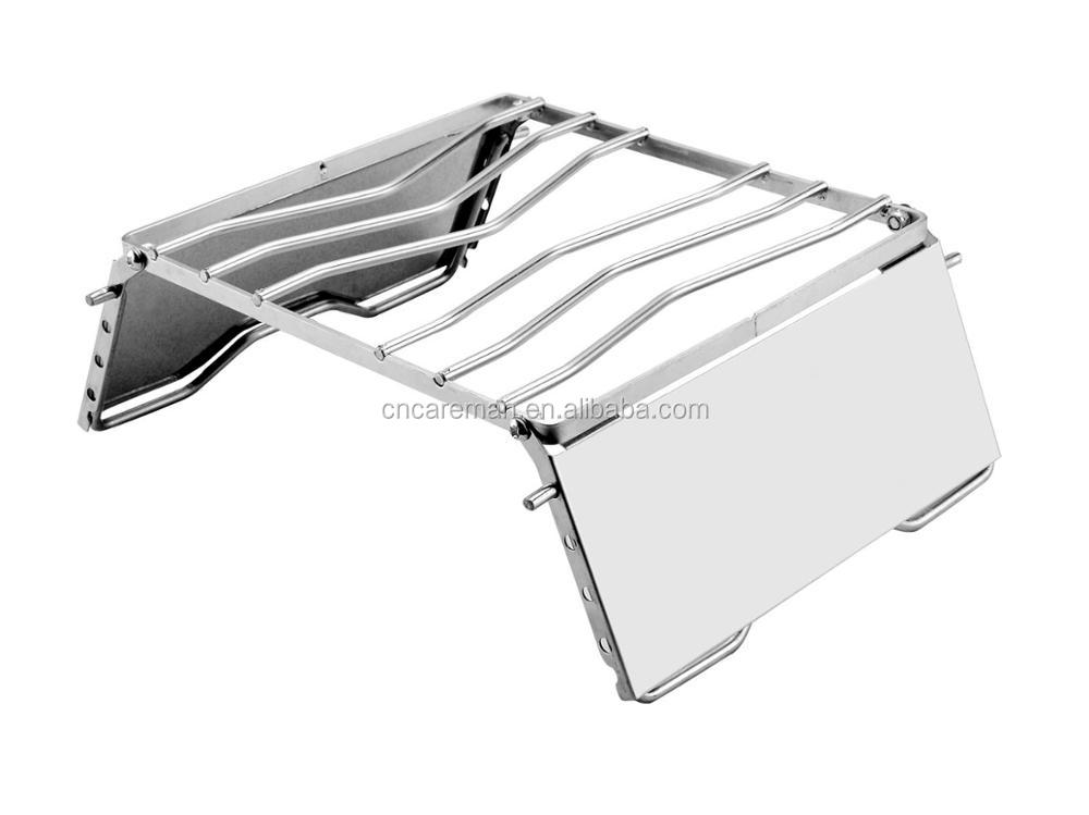 4 Level Height Adjustable Stainless Steel Windproof Camp Grill/Campfire Grill/Pack Grill/Backpacker Grill w/Wind Shield