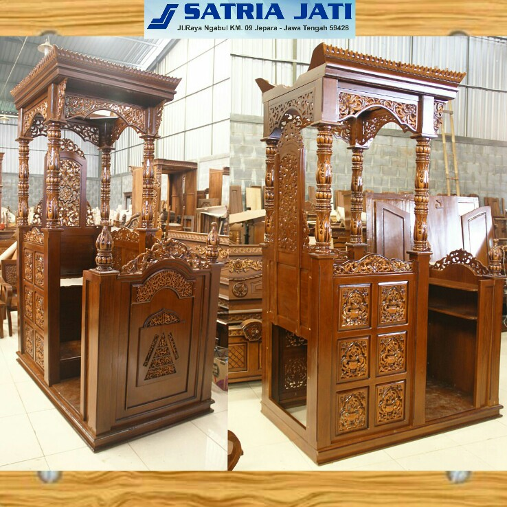 Luxury Mosque pulpit arabian carved wooden indonesia furniture