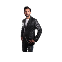 Genuine Leather Blazer 2 Button Coat Style Jacket Menswear High Quality Material