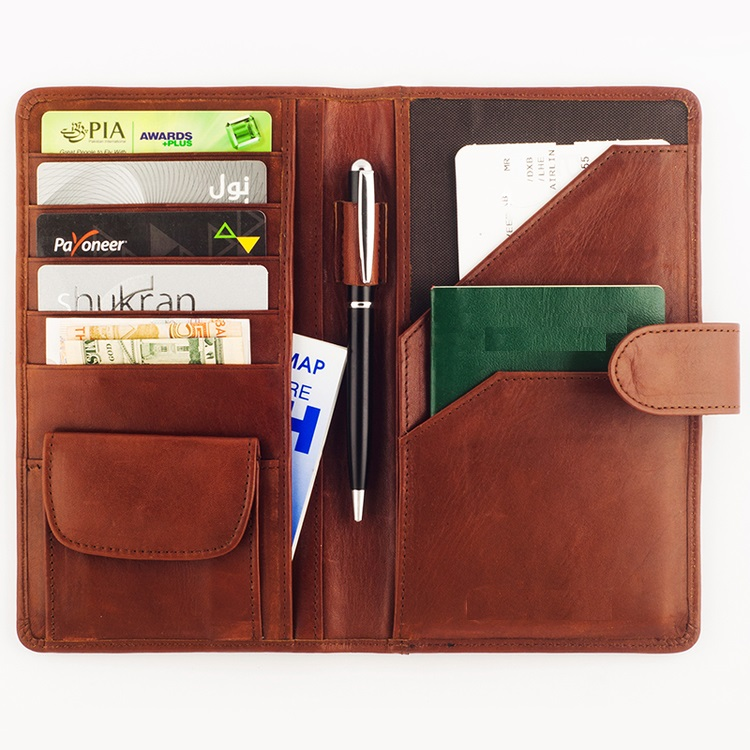 High quality RFID travel blocking real genuine cow leather wallet / High quality travel portable men leather wallet
