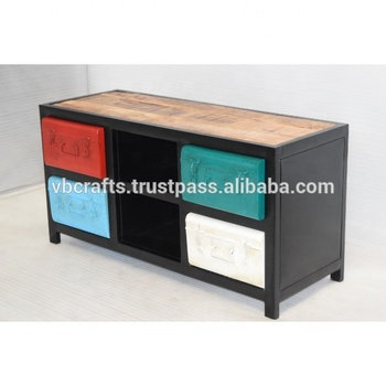 Industrial Urban Loft Colorful Drawer tv stand