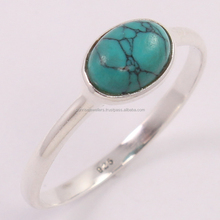 Pure 925 Sterling Silver TURQUOISE (S) Cabochon Stone Ring, Indian Style Jewellery, Gemstone Silver Jewellery