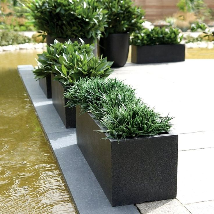 FIBERGLASS RACTANGULAR PLANTER POTS FOR GARDEN