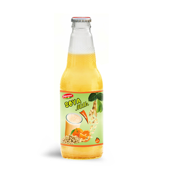 Wholesale Natural Soya milk Orange flavour Suppliers in Glass bottle 300ml