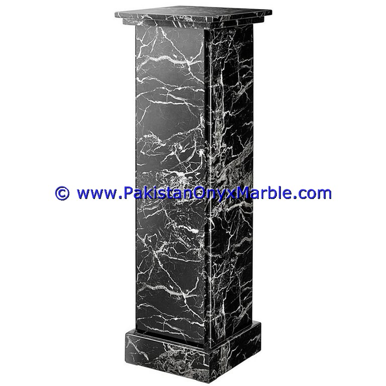 wholesalers and exporters of Marble Pedestals Stand Display Handcarved Black Zebra
