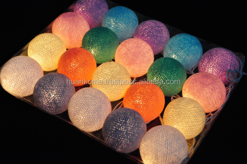 High Quality Cotton Ball String Lights CE&GS,SAA,UK,UL & LED Series Made in Thailand