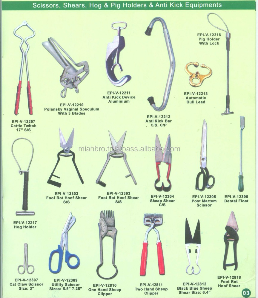 Veterinary Instruments, Emasculating Equipment, Trocars and teat equipment