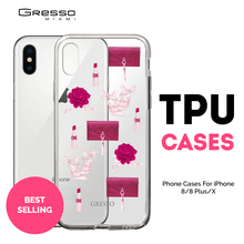 2018 Best Sellers Transparent tPU Mobile Wallet Case for iPhone X 10 Plus with Marsala Design Printing Wholesale Custom