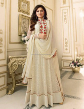 Occasion wear chanderi net floor length salwar kameez