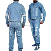 OEM Custom Distressed/Ripped 12 Oz Denim Jeans and Jacket set, Suit, Work wear, Street wear