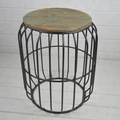 Industrial Design stool with Antique wooden top metal Black wire side table