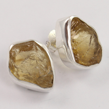 New Collection 925 Solid Sterling Silver Stud Post Earrings Natural CITRINE Raw Rough Gemstones Earrings Jewelry Women