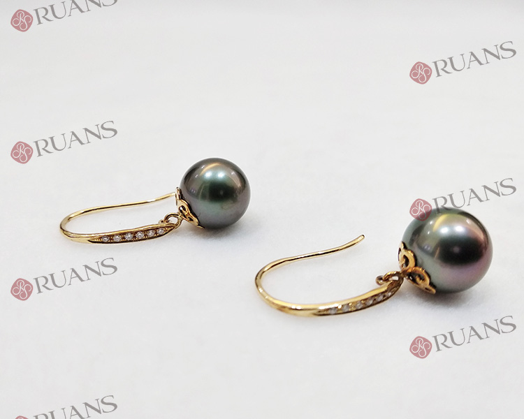 Tahitian Pearl 18k Gold Earrings With Diamonds