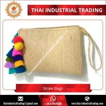 Straw Clutch Bag Zipper Wristlet Clutch Straw Bag with Pompom Tassels Original Handmade Product from Thailand