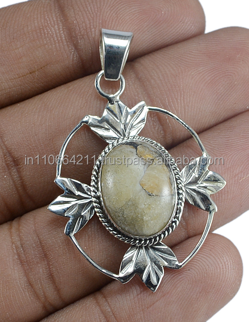 Natural 925 Sterling Silver Copper White Turquoise Pendant