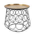 Brass Colour Table Top Tray Round Shaped Metal Wire Coffee Table