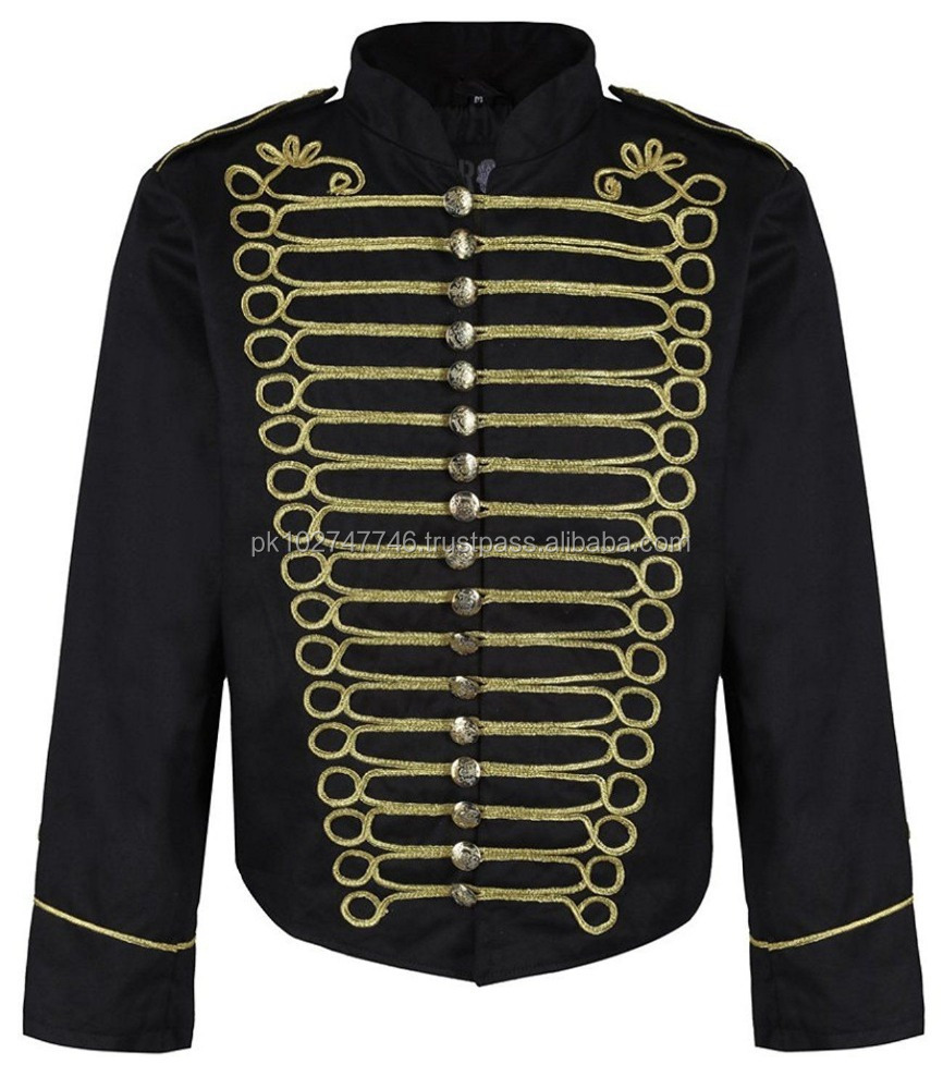 Men Military Steampunk Napoleon Gold Embroidery Black Drummer Parade Jacket