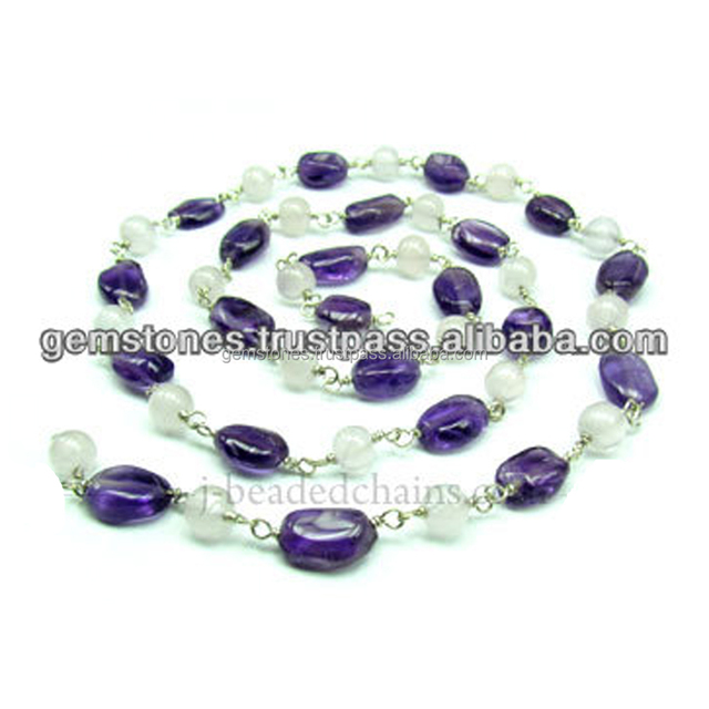 Beautiful Smooth Oval and Round Amethyst and Pearl Beaded Chain, Gemstone Bezel Jewelry Wholesale