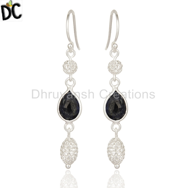 925 Sterling Silver Earring Manufacturer of Blue Sapphire Gemstone Hook Dangle Earring Jewelry Supplier